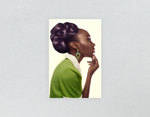 Plastic Salon Posters & Salon Posters: Dark Skinned Woman in Updo with Big Curls