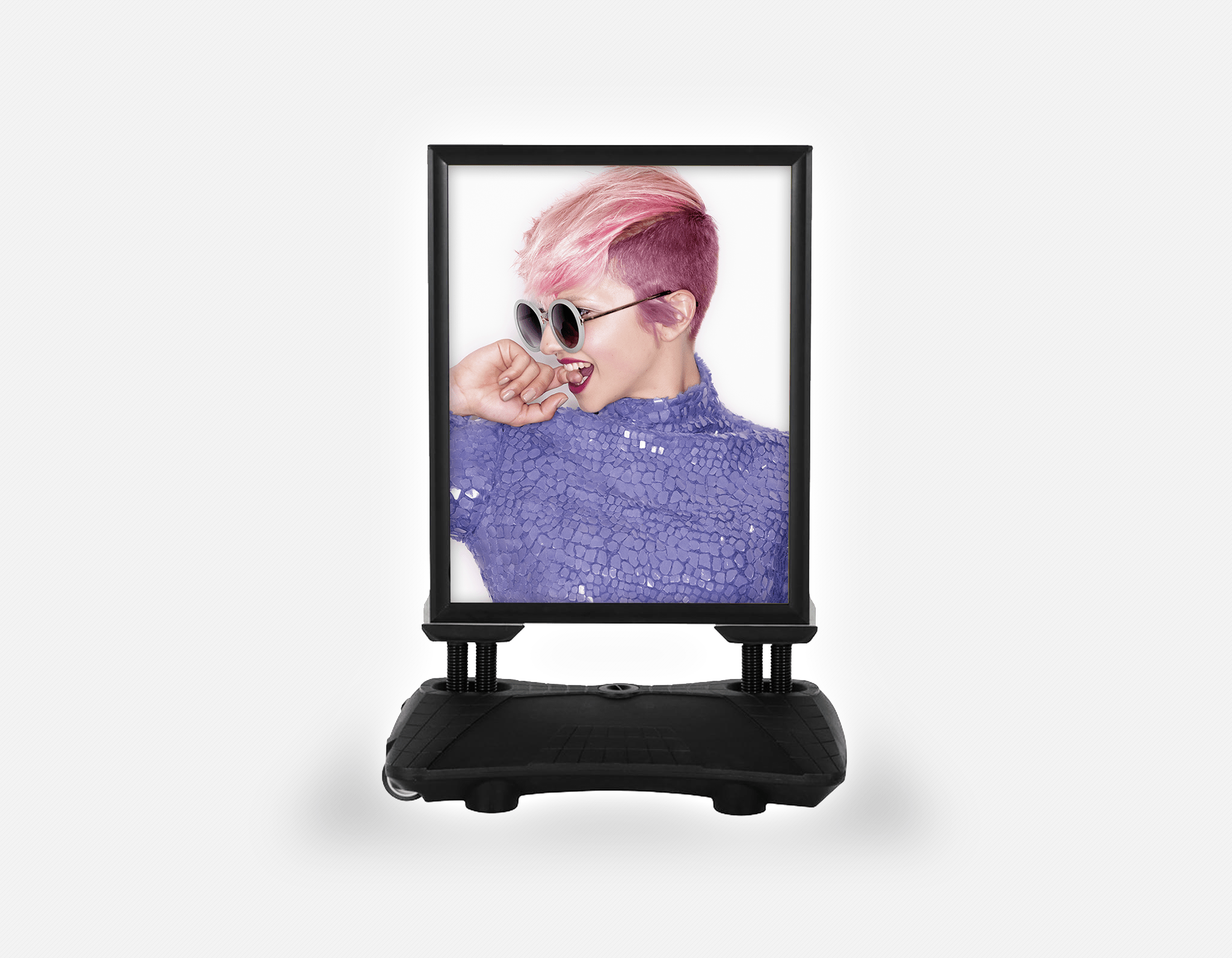 Water Base Pavements Sign: Woman Side in Pink Hair Colored Pixie Cut