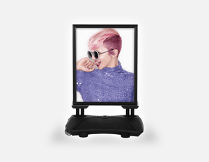 Water Base Pavements Sign: Woman Side in Pink Hair Colored Pixie Cut - Bound for Style
