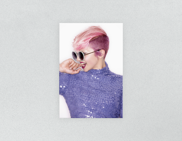 Plastic Salon Posters & Salon Posters: Woman Side in Pink Hair Colored Pixie Cut - Bound for Style