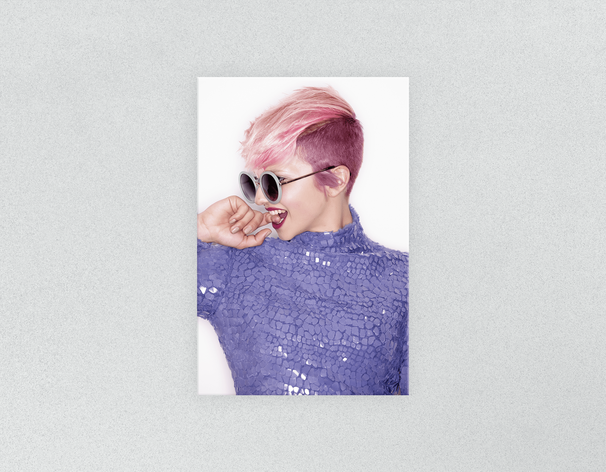 Plastic Salon Posters: Woman Side in Pink Hair Colored Pixie Cut