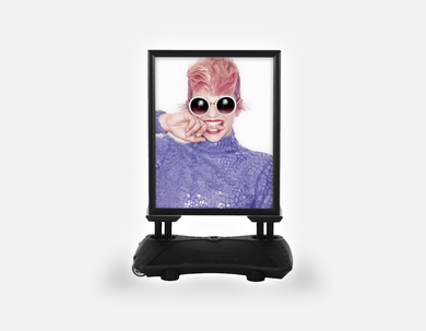 Water Base Pavements Sign: Woman Front in Pink Hair Colored Pixie Cut - Bound for Style