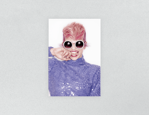 Plastic Salon Posters: Woman Front in Pink Hair Colored Pixie Cut