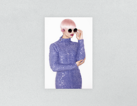Plastic Salon Posters & Salon Posters: Woman in Pink Hair Colored Pixie Cut