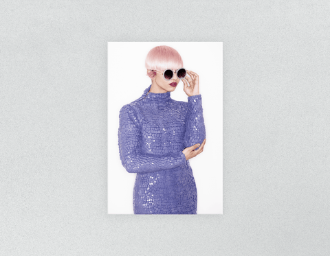 Plastic Salon Posters: Woman in Pink Hair Colored Pixie Cut
