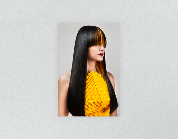 Plastic Salon Posters & Salon Posters: Woman Front with Long Straight Hair with Orange Highlights - Bound for Style