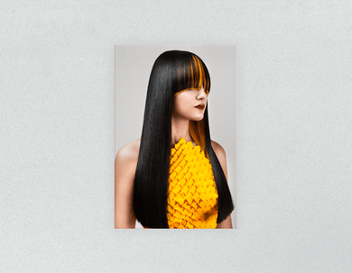 Plastic Salon Posters: Woman Front with Long Straight Hair with Orange Highlights - Bound for Style