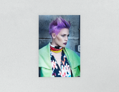 Plastic Salon Posters: Woman in Purple Pixie Cut - Bound for Style