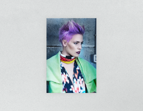 Plastic Salon Posters: Woman in Purple Pixie Cut