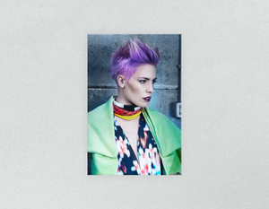 Plastic Salon Posters & Salon Posters: Woman in Purple Pixie Cut - Bound for Style