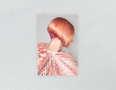 Plastic Salon Posters & Salon Posters: Woman with Pink Colored Bob Hairstyle Back - Bound for Style