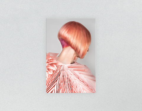 Plastic Salon Posters & Salon Posters: Woman with Pink Colored Bob Hairstyle Back