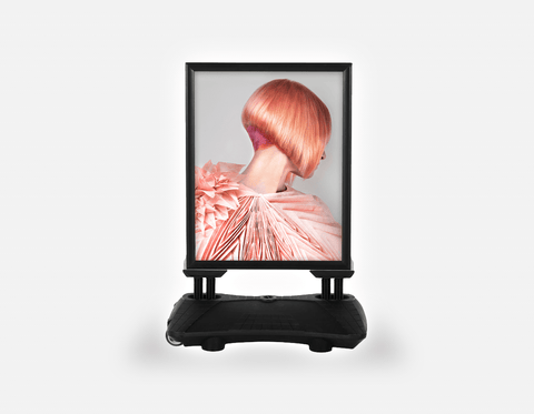 Water Base Pavements Sign: Woman with Pink Colored Bob Hairstyle Back