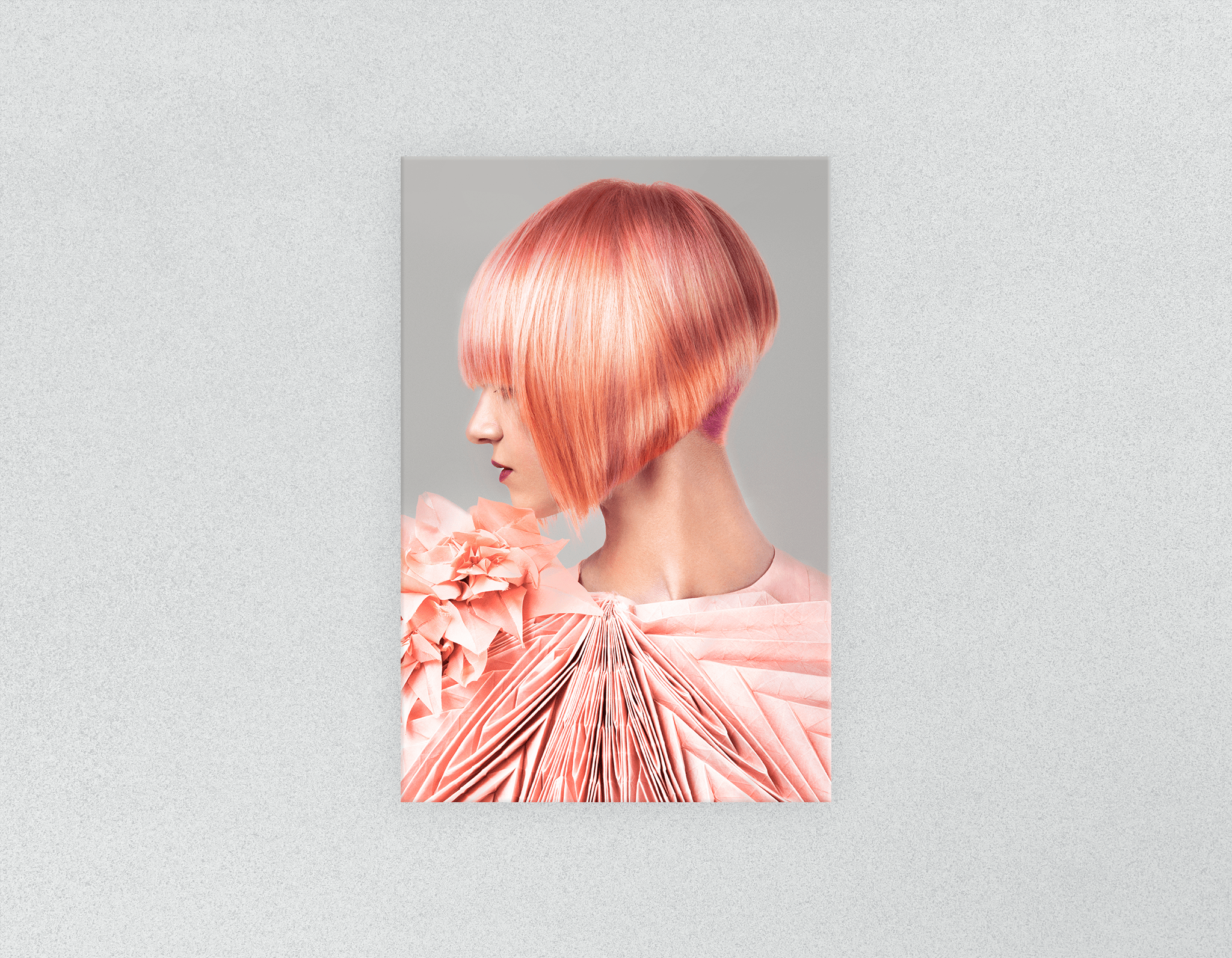Plastic Salon Posters: Woman with Pink Colored Bob Hairstyle