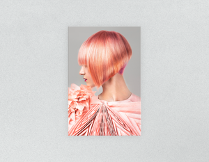 Plastic Salon Posters & Salon Posters: Woman with Pink Colored Bob Hairstyle - Bound for Style