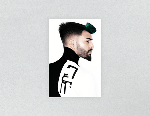 Plastic Salon Posters: Man with High Fade Quiff Haircut in Black and White Outfit