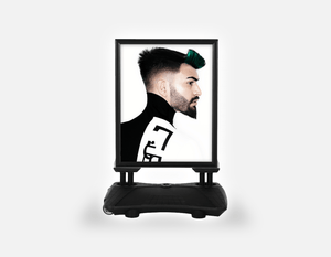 Water Base Pavements Sign: Man with High Fade Quiff Haircut in Black and White Outfit - Bound for Style