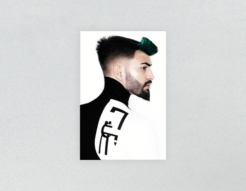 Plastic Salon Posters & Salon Posters: Man with High Fade Quiff Haircut in Black and White Outfit