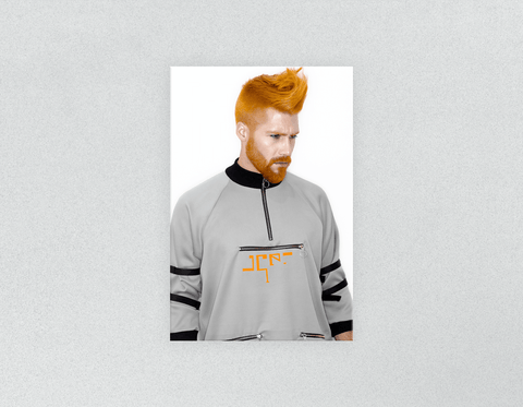 Plastic Salon Posters: Man with Side High Fade Quiff and Fringe Haircut with Orange Hair color