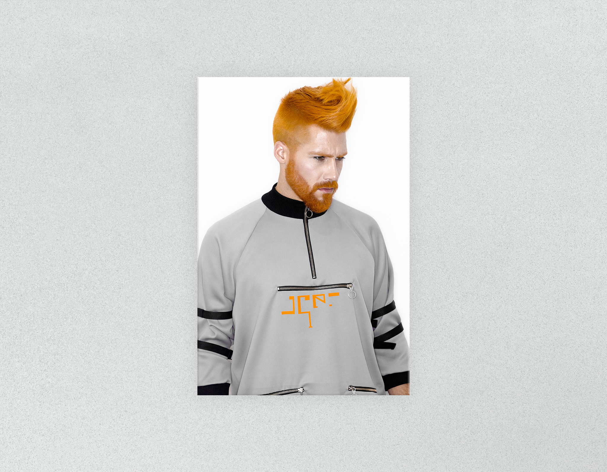 Plastic Salon Posters & Salon Posters: Man with Side High Fade Quiff and Fringe Haircut with Orange Hair color