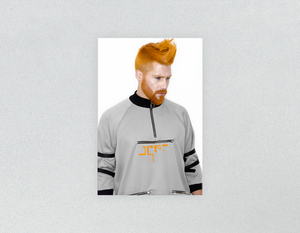 Plastic Salon Posters & Salon Posters: Man with Side High Fade Quiff and Fringe Haircut with Orange Hair color - Bound for Style
