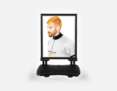 Water Base Pavements Sign: Man with High Fade Quiff and Fringe Haircut with Orange Hair color - Bound for Style