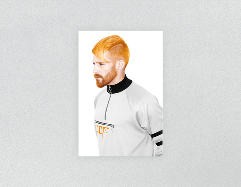 Plastic Salon Posters: Man with High Fade Quiff and Fringe Haircut with Orange Hair color