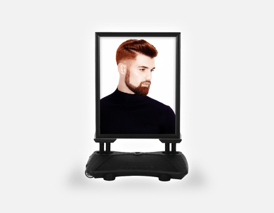 Water Base Pavements Sign: Man Side with High Fade Quiff Haircut in Black Outfit - Bound for Style
