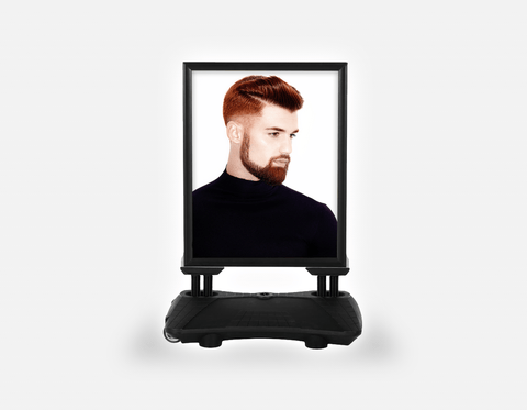 Water Base Pavements Sign: Man Side with High Fade Quiff Haircut in Black Outfit