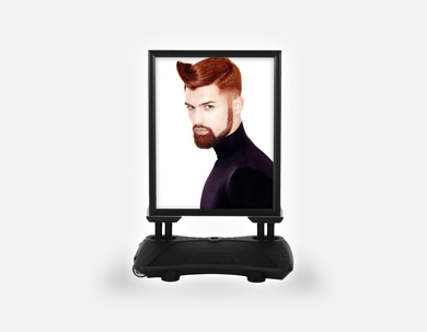 Water Base Pavements Sign: Man with High Fade Quiff Haircut in Black Outfit - Bound for Style