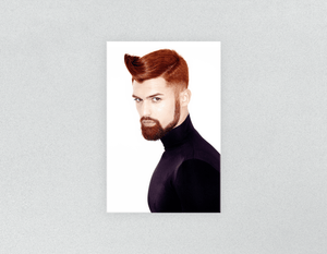 Plastic Salon Posters: Man with High Fade Quiff Haircut in Black Outfit - Bound for Style