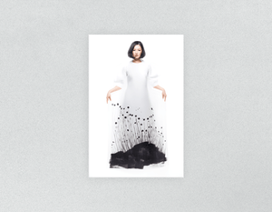Plastic Salon Posters: Woman in Bob Hairstyle with Graphic Design Gown - Bound for Style