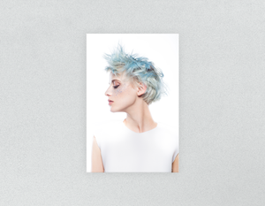 Plastic Salon Posters & Salon Posters: Woman with Blue Spiky Hair - Bound for Style