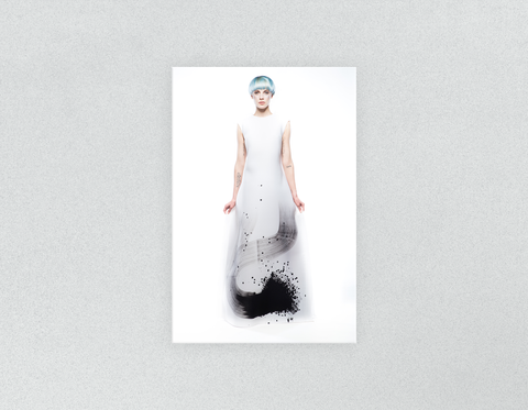 Plastic Salon Posters & Salon Posters: Woman Full Body with Blue Hair in Graphic Gown