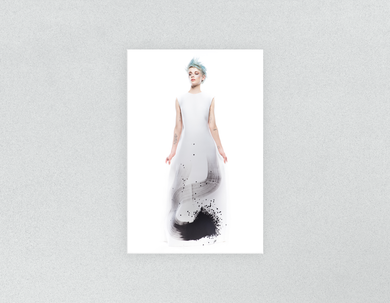 Plastic Salon Posters & Salon Posters: Woman Full Body with Blue Spiky Hair in Graphic Gown - Bound for Style