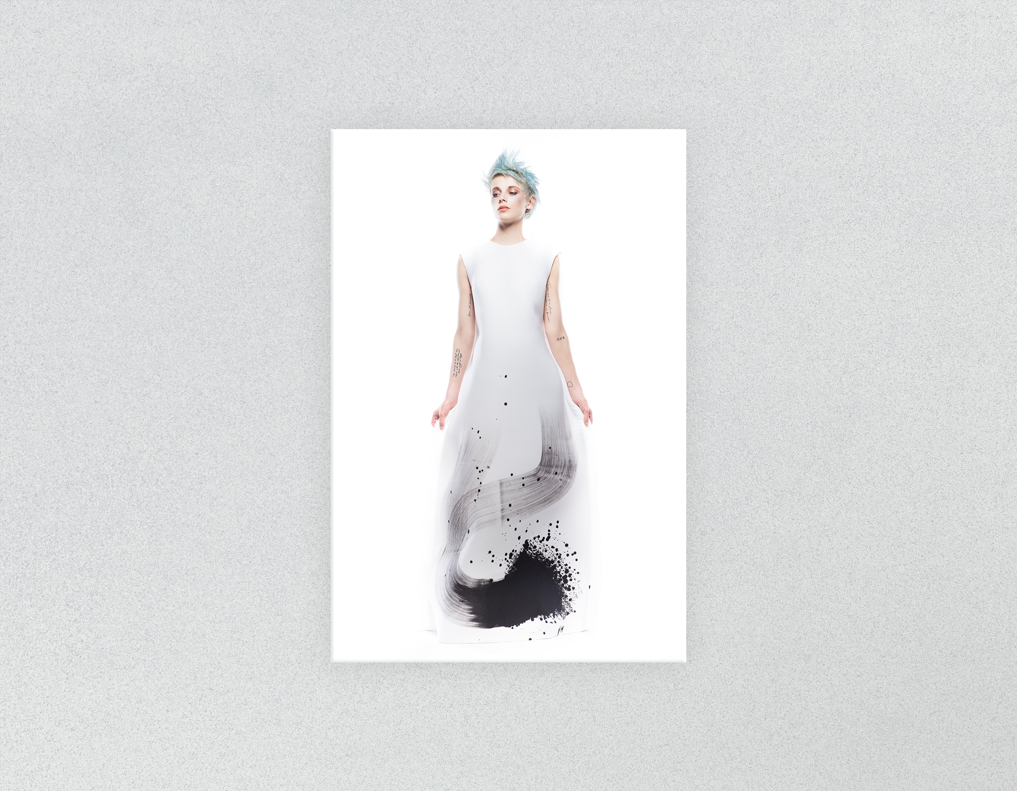 Plastic Salon Posters & Salon Posters: Woman Full Body with Blue Spiky Hair in Graphic Gown