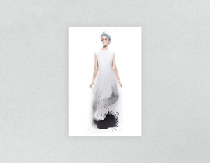 Plastic Salon Posters: Woman Full Body with Blue Spiky Hair in Graphic Gown - Bound for Style