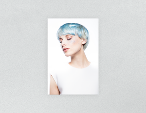 Plastic Salon Posters & Salon Posters: Woman with Side Blue Hair in Graphic Gown - Bound for Style