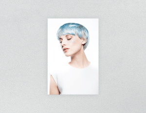 Plastic Salon Posters: Woman with Side Blue Hair in Graphic Gown - Bound for Style