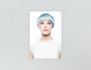 Plastic Salon Posters & Salon Posters: Woman with Front Blue Hair in Graphic Gown - Bound for Style