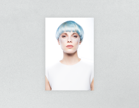 Plastic Salon Posters & Salon Posters: Woman with Front Blue Hair in Graphic Gown