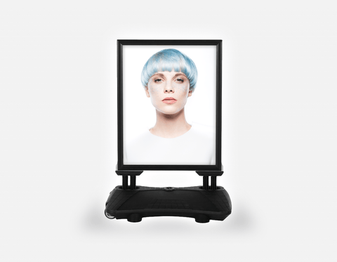 Water Base Pavements Sign: Woman with Front Blue Hair in Graphic Gown