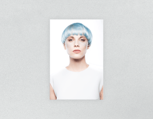 Plastic Salon Posters: Woman with Front Blue Hair in Graphic Gown - Bound for Style