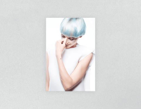 Plastic Salon Posters: Woman with Blue Hair in White Gown