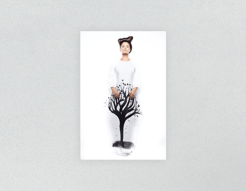Plastic Salon Posters: Woman with Curly Short Hairstyle