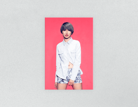 Plastic Salon Posters: Woman with Bob Haircut and Ash Gray Hair Color