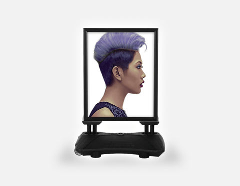 Water Base Pavements Sign: Woman with Short Hairstyle in Purple Shade Hair Color