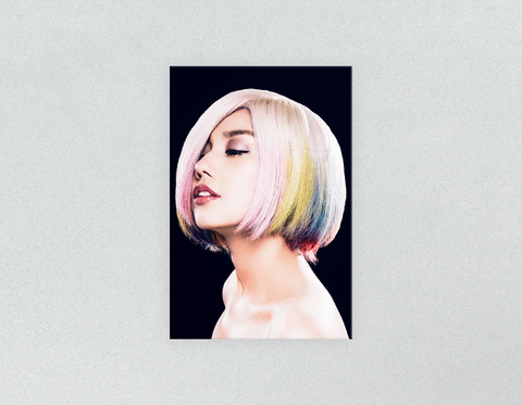 Plastic Salon Posters & Salon Posters: Woman in Pink, Blue, Yellow Unicorn Hair