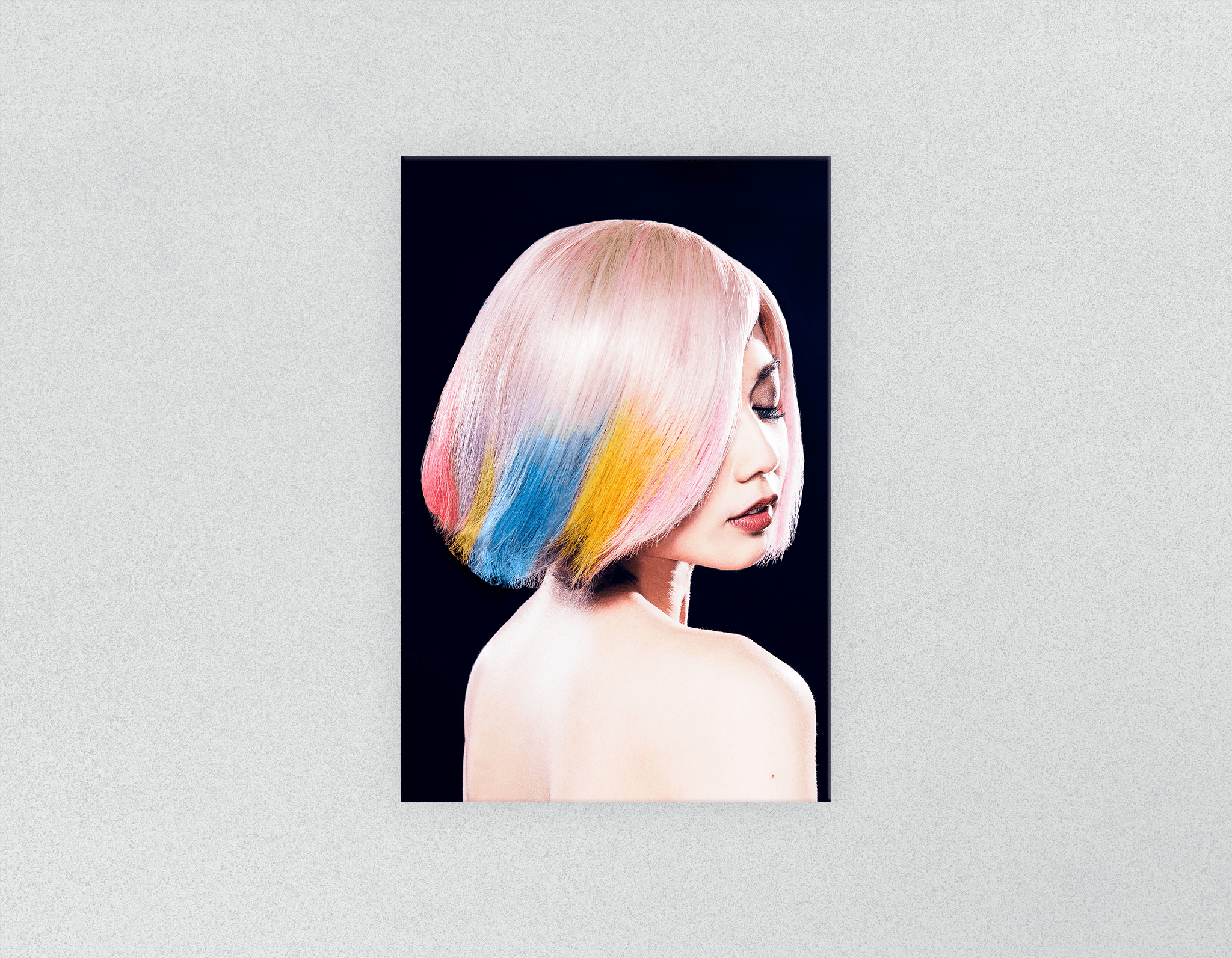 Plastic Salon Posters: Woman in Pink, Blue, Yellow Unicorn Hair
