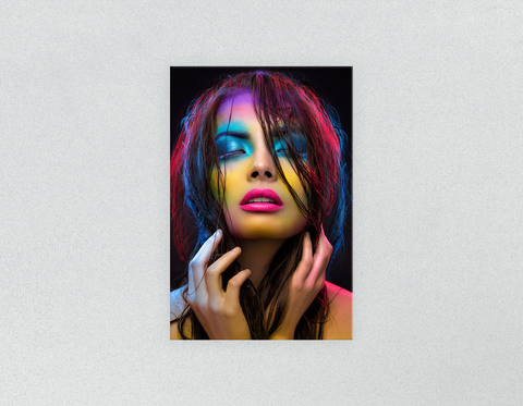 Plastic Salon Posters: Woman in Neon Multi Colored Makeup